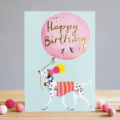 Dalmatian,&,Balloon,Happy,Birthday,Card,buy dog birthday card online, buy birthday cards with dogs online, birthday card for her, female birthday cards, girls birthday cards, cards with dogs, dog card, buy dalmatian birthday cards online, buy dog and balloon birthday cards for her online,