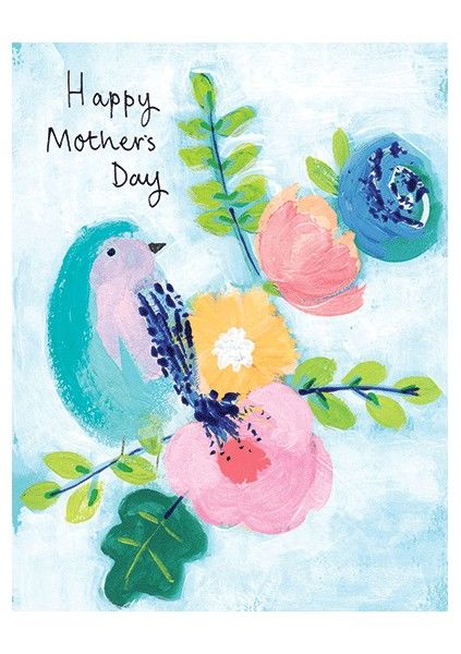 Bird & Flowers Happy Mother's Day Card - product images