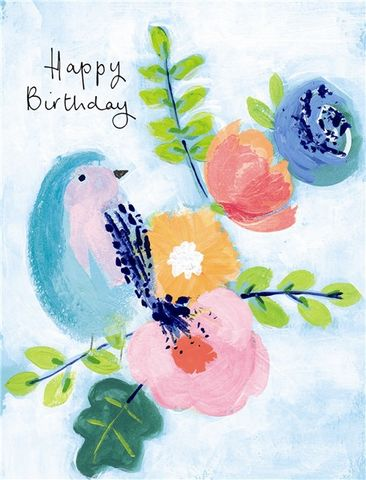 Bird,&,Flowers,Happy,Birthday,Card,buy pretty birthday cards for her online with bird and flowers, buy birds and flowers blossoms female birthday cards online, buy spring birthday cards for her online, but botany botantical birthday cards for lady online