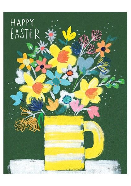 Vase Of Flowers Happy Easter Card - product images
