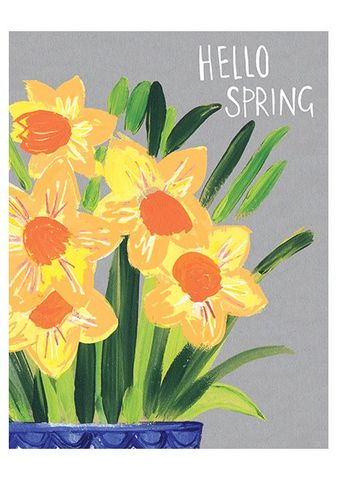 Daffodils,Hello,Spring,Card,buy spring cards online with daffodils, buy floral cards for spring online, buy hello spring cards online, buy cards with daffodils online, buy yellow flowers cards for spring online,