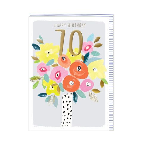 Vase,Of,Flowers,70th,Happy,Birthday,Card,buy 70th birthday card for her online, buy vase of flowers age seventy female birthday cards online, floral seventieth birthday cards for her, age seventy pretty birthday cards for lady,