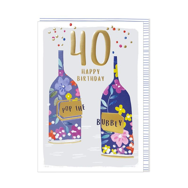 Pop The Bubbly 40th Happy Birthday Card - product images