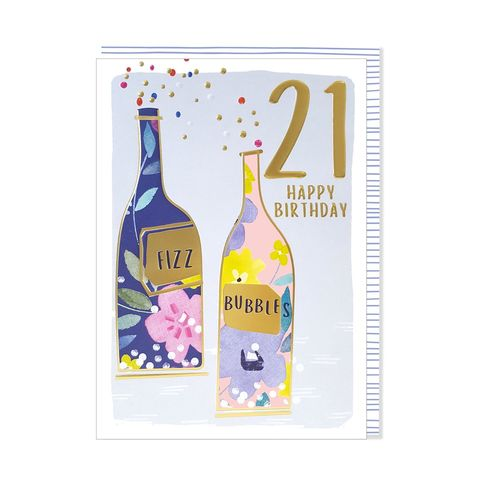 Fizz,&,Bubbles,21st,Happy,Birthday,Card,buy 21st birthday card for her online, buy bottles of fizz bubbles age twenty-one birthday cards for her online, age twenty one female birthday cards online, twenty-first birthday cards for her, twenty first birthday drinks birthday cards for lady,