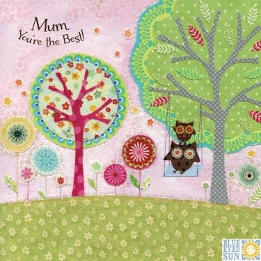 Owls,On,Swing,Mum,You're,The,Best,Card,buy bird mothers day card online, buy lovely mothering sunday card online, buy owls mum you are the best mothers day cards, buy owl mothers day card for mum, owls mum you are the best cards online for birthday mothering sunday or just because