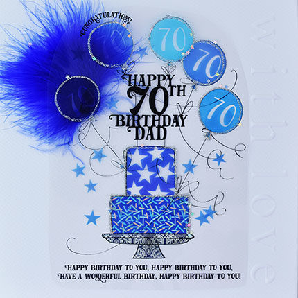 Handmade,Dad,70th,Birthday,Cake,Card,-,Large,,Luxury,buy dad 70th birthday card online, buy 70th birthday cards for dads online, age seventy cards for dads, seventieth birthday card, large 70th birthday card for dad, luxury age 70 card for dad, dads 70th card, age 70 card, birthday card for seventy