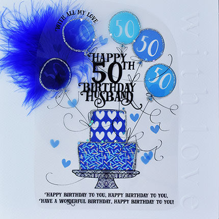 Handmade,Husband,50th,Birthday,Cake,Card,-,Large,,Luxury,buy husband 50th birthday card online, buy 50th birthday card for husband online, age fifty cards for husbands, fiftieth birthday card, large 50th birthday card for husband, luxury age 50 card for husband, husband's 50th card