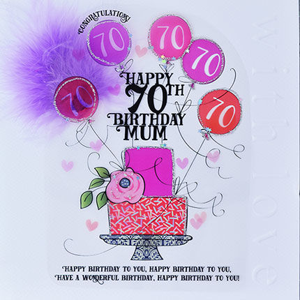 Handmade,Mum,70th,Birthday,Cake,Card,-,Large,,Luxury,buy mum 70th birthday card online, 70th birthday card for mum, cards for mums, seventieth birthday card, large 70th birthday card for mum, luxury age 70 card for mum, mum's 70th card, age seventy card