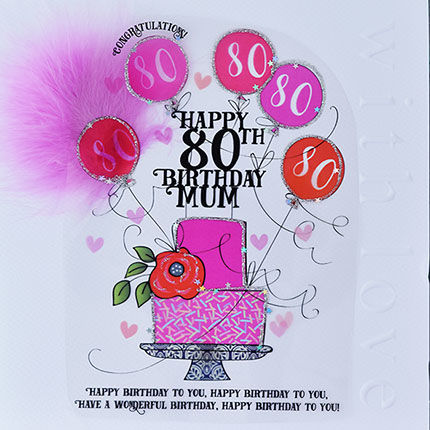 Handmade,Mum,80th,Birthday,Cake,Card,-,Large,,Luxury,buy mum 80th birthday card online, buy 80th birthday cards for mums online, 80th birthday card for mum, cards for mums, eightieth birthday card, large 80th birthday card for mum, luxury age 80 card for mum, mum's 80th card, age eighty card