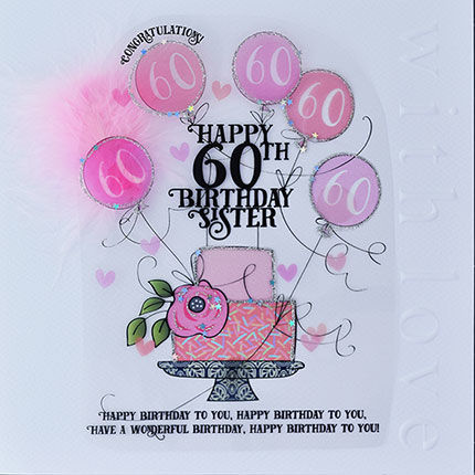 Handmade,Sister,60th,Birthday,Cake,Card,-,Large,,Luxury,buy 60th birthday card for sister online, buy large age sixty birthday cards for sisters online, buy luxury handmade age sixty birthday card for sister online, sixtieth birthday cards for sisters