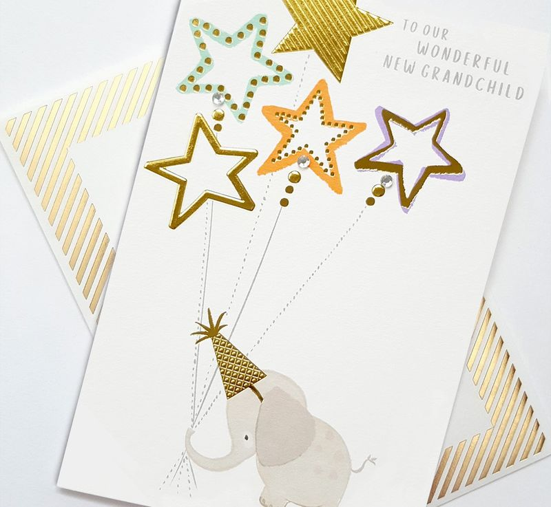 Hand Finished Elephant To Our Wonderful New Grandchild Card - product images  of