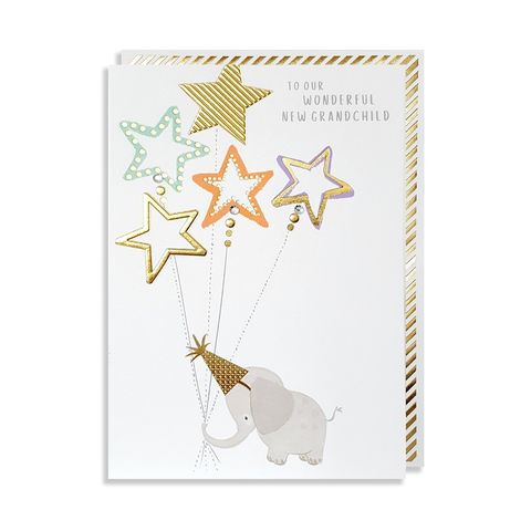 Hand,Finished,Elephant,To,Our,Wonderful,New,Grandchild,Card,buy new baby grandchild card online, buy new baby cards from proud grandparents online, buy new grandchild grandson granddaughter baby cards with elephants from grandparent grandma grandad