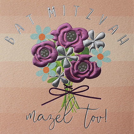 Flowers,Bat,Mitzvah,Card,buy bartmitzvah card online with flowers, buy contemporary good luck and congratulations on your bat mitzvah cards online, buy pretty floral bat mitzvah cards for teenage girl online,