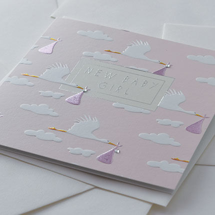 Hand Finished Storks New Baby Girl Card - product images  of