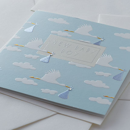 Hand Finished Storks New Baby Boy Card - product images  of