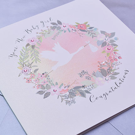 Your New Baby Girl Congratulations Card - Large, Luxury New Baby Card - product images  of