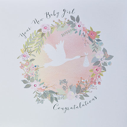 Your,New,Baby,Girl,Congratulations,Card,-,Large,,Luxury,buy luxury new baby girl cards online, buy large new baby girl cards online, buy special new baby cards online, buy beautiful stork and flowers new baby congratulations card online, buy special new baby cards for proud parents online,