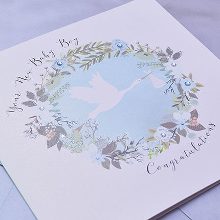 Your New Baby Boy Congratulations Card - Large, Luxury New Baby Card - product images  of