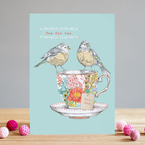 Birds,&,Tea,Cup,For,Two,Card,buy someone special cards online, buy bird card online, buy tea for two cards online, buy tea cup tea for two cards online, someone special one i love cards for valentines day anniversary, someone special mothers day card, someone special friendship