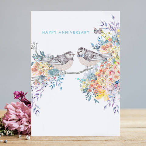 Birds,&,Flowers,Happy,Anniversary,Card,buy birds happy anniversary cards online buy pretty wedding anniversary cards online for wife husband special couple friends relations family, pretty flowers and birds anniversary cards, spring anniversary cards, summer anniversary cards