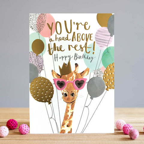 Giraffe,&,Balloons,Happy,Birthday,Card,buy giraffe birthday card online, buy birthday cards with giraffes online, buy birthday card for her online, female birthday cards, girls birthday cards, cards with animals, giraffe birthday card, head above the rest birthday cards for her