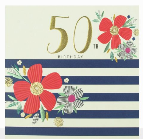 Flowers,&,Stripes,50th,Birthday,Card,buy 50th birthday cards for her online, buy striped 50th birthday cards online, buy female age fifty birthday cards online, floral 50th birthday cards for her, buy age fifty birthday cards with flowers online, ladies birthday card for 50th with flowers, f