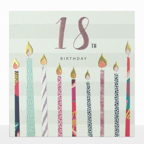 Candles,&,Stripes,18th,Birthday,Card,buy 18th birthday cards for her online, buy striped 18th birthday cards online, buy female age eighteen birthday cards online, pretty 18th birthday cards for her, buy age eighteen birthday cards online, girls birthday card for special 18th birthday