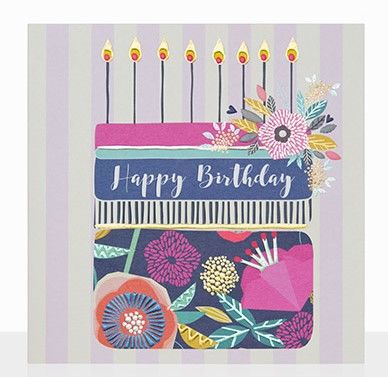 Birthday,Cake,&,Stripes,Happy,Card,buy birthday cake birthday card online, buy birthday cards for her with birthday cakes, cake and candles birthday cards, pretty floral birthday cards for females, girls birthday card with flowers cake, striped birthday cards for her