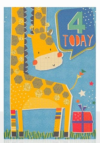 Giraffe,4,Today,Birthday,Card,buy 4th birthday cards online, buy age four birthday cards online, buy boys 4 today birthday card online, buy gender neutral 4th birthday cards online, buy birthday cards with giraffes, buy kids birthday cards with animals, buy giraffe 4 today birthday ca
