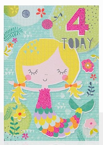 Mermaid,4,Today,Birthday,Card,buy 4th birthday cards online, buy age four birthday cards online, buy girls 4 today birthday card online, buy pretty birthday cards for children online, buy mermaid 4th birthday card online, buy mermaid birthday cards online, buy birthday cards with merm