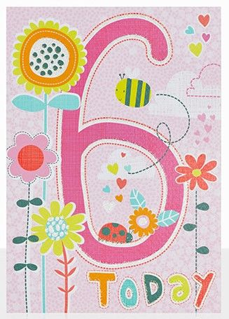 Flowers,6th,Birthday,Card,buy 6th birthday cards online, buy age six birthday cards for girls online, buy girls 6 today birthday card online, buy pretty flower birthday cards for children online, buy 6th birthday cards online for girls, bee birthday card, flowers birthday card for