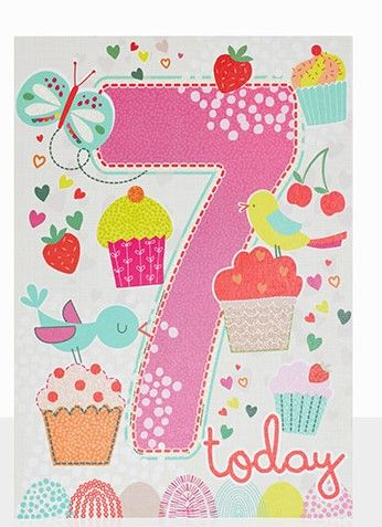 Birds,&,Cupcakes,7th,Birthday,Card,buy 7th birthday cards online, buy age seven birthday cards online, buy girls 7 today birthday card online, buy pretty bird birthday cards for children online, buy 7th birthday cards online for girls, butterfly birthday card, birds birthday card for girls