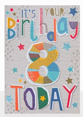 It's Your Birthday 8 Today Birthday Card - product images  of
