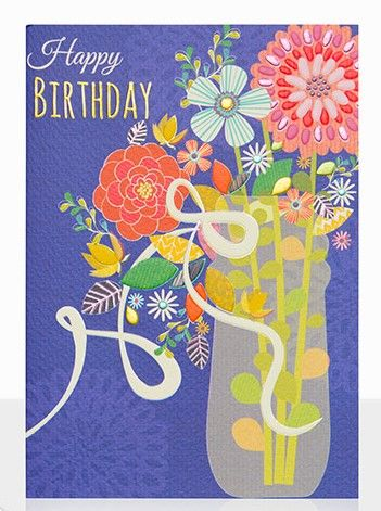 Vase,Of,Flowers,Birthday,Card,buy birthday cards for her online, buy floral birthday cards online, buy floral unisex birthday cards online, buy pretty female birthday cards online, buy gender neutral birthday cards with flowers online, vase of flowers pretty birthday card for her,