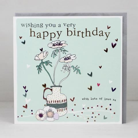 Floral,With,Lots,Of,Love,Birthday,Card,buy pretty floral birthday card for her online, buy birthday cards for her with flowers online, buy with lots of love pretty birthday cards online, buy female birthday cards with flowers vase jug hearts, love hearts birthday cards for her, botantical birt