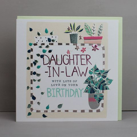 Daughter-In-Law,With,Lots,Of,Love,On,Your,Birthday,Card,buy pretty floral birthday card for daughter-in-law online, buy daughter-in-law- birthday cards with flowers online, buy pretty botantical birthday cards for special daughter in law online, buy daughter in law birthday cards with pots of houseplants plant
