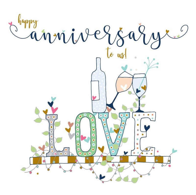 Happy Anniversary To Us Card - Large, Luxury Wedding Anniversary Card - product images  of