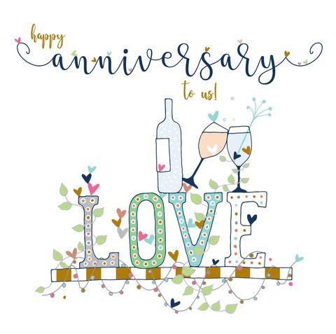 Happy,Anniversary,To,Us,Card,-,Large,,Luxury,Wedding,buy deluxe luxury anniversary card for husband online, buy large anniversary card for wife online, buy happy anniversary to us large cards online for special wife or husband, buy large deluxe happy anniversary cards online with love leaves drinks bubbles