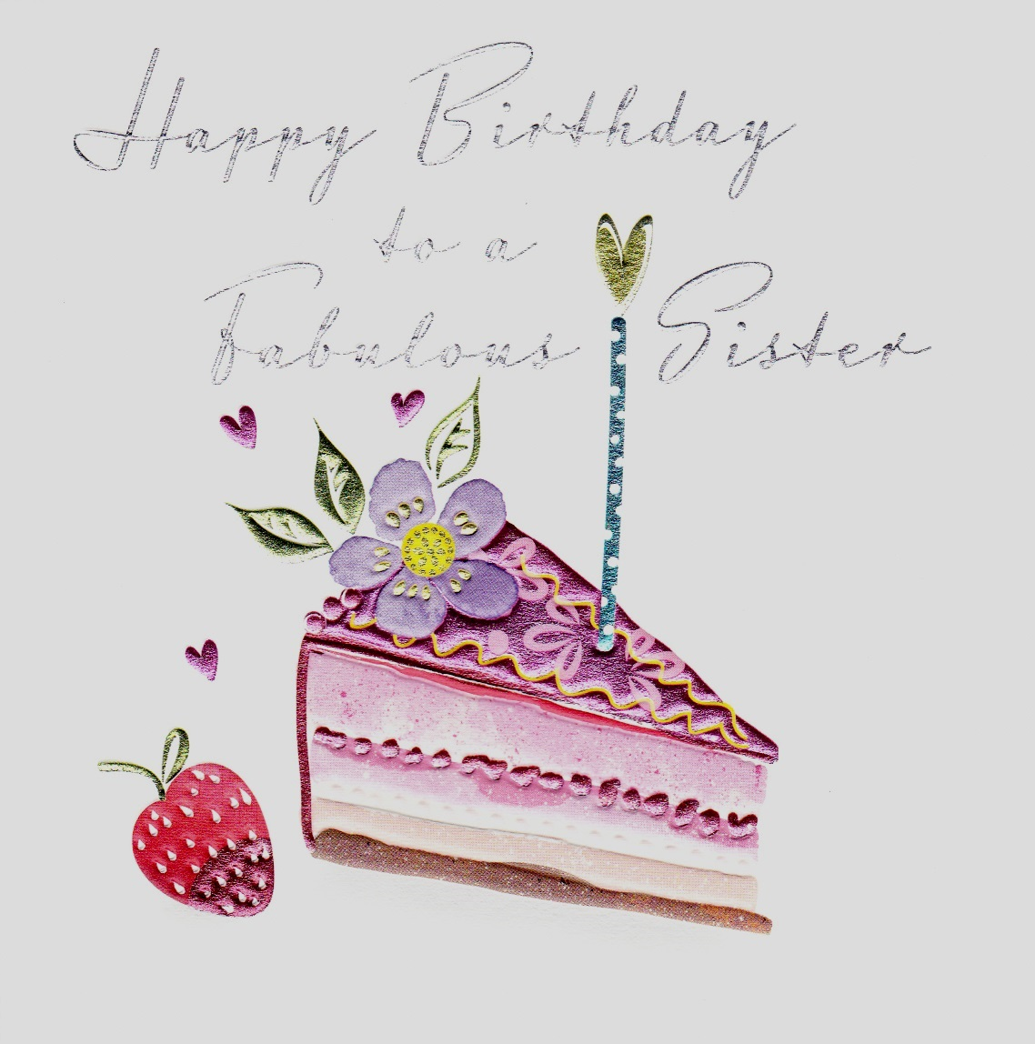 buy special sister birthday cards online at karenza paperie slice of birthday cake and candle sister card from sibling brother sis
