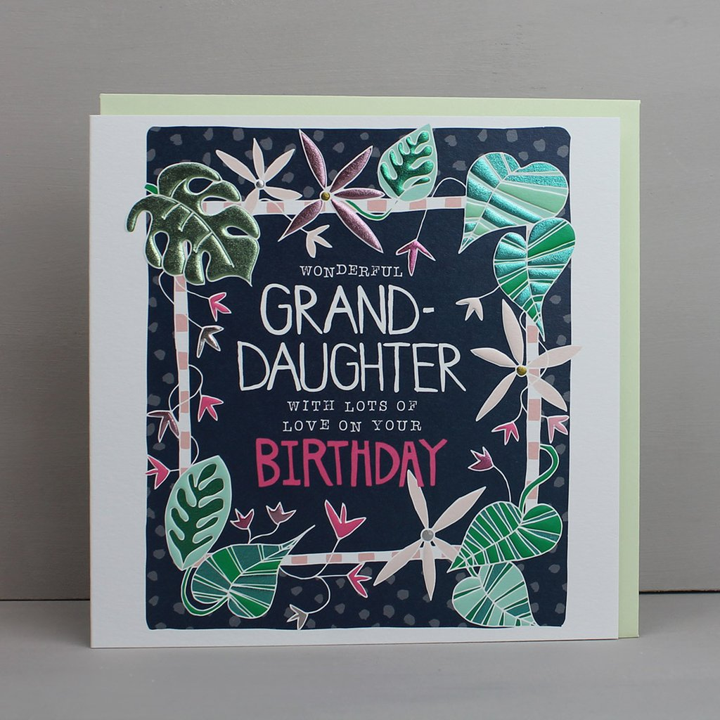 buy special granddaughter birthday card online at karenza paperie pretty botatical flowers leaves grand-daughter birthday cards