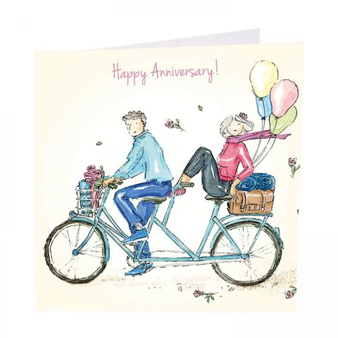Bicycle,Made,For,Two,Happy,Anniversary,Card,buy happyanniversary card for special couple online, buy anniversary cards with bicycle made for two online, buy couple husband wife tandem bicycle picnic happy anniversary cards online, buy happy wedding anniversary cards for special friends family relat