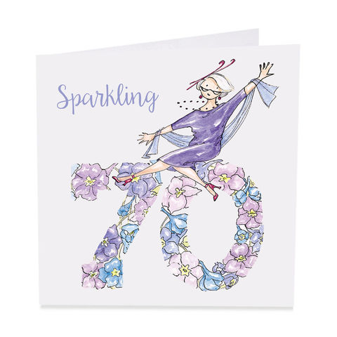Sparkling,70th,Happy,Birthday,Card,buy 70th birthday card for her online, buy flowers age seventy female birthday cards online, sparkling seventieth birthday cards for her, age seventy pretty birthday cards for lady