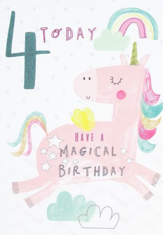 Unicorn,4,Today,Have,A,Magical,Birthday,Card,buy 4th birthday cards online, buy age four birthday cards online, buy girls 4 today birthday card online, buy pretty birthday cards for children online, buy unicorn 4th birthday card online, buy unicorn rainbow magical birthday cards online, buy birthday