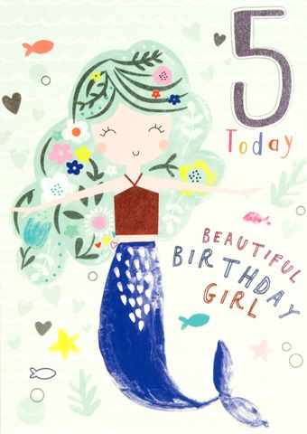Mermaid,5,Today,Birthday,Card,buy 5th birthday cards online, buy age five birthday cards with mermaid online, buy girls 5 today birthday card online, buy pretty birthday cards for children online with mermaids , buy mermaid 5th birthday card online, buy mermaid magical birthday cards