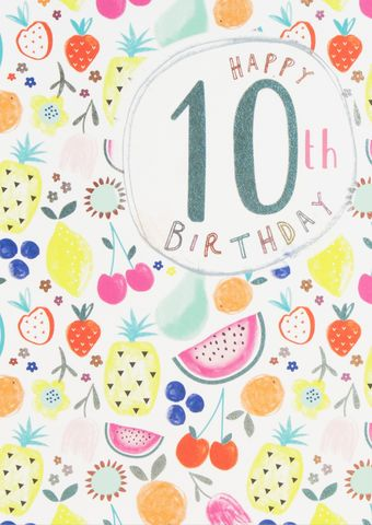 Tropical,Fruit,&,Flowers,10th,Birthday,Card,buy 10th birthday cards online, buy age ten birthday cards with tropical fruit flowers online, buy girls age ten birthday card online, buy pretty birthday cards for children online with fruit, girls age ten birthday cards online cute fruits design