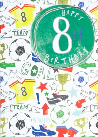 Football,Happy,8th,Birthday,Card,buy football 8th birthday cards online, buy age eight birthday cards for football player online, buy age eight birthday card online, buy footie birthday cards for children online, age eight birthday cards online football top boots trophy ball