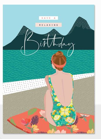 Have,A,Relaxing,Birthday,Card,buy birthday cards for her online, buy summer holiday birthday card online, buy birthday cards with summer online, buy swimsuit sea swimmer birthday card for her online, buy relax by the pool birthday cards for her online