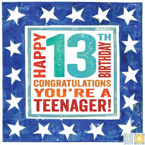 Happy,13th,Birthday,Congratulations,You're,A,Teenager,Card,buy 13th happy birthday card online, buy birthday cards for thirteenth birthday online, buy teenager 13 birthday card  online, buy special age thirteen birthday card