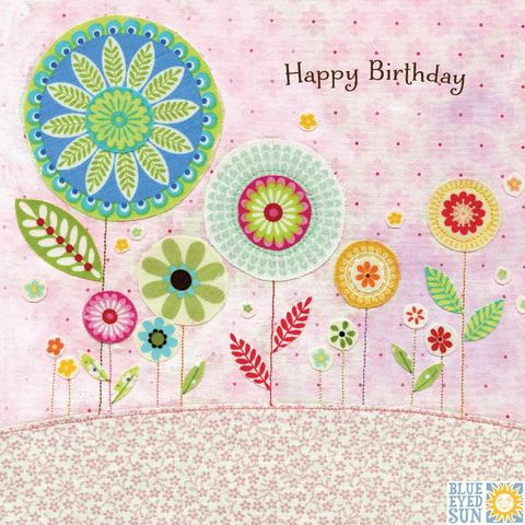 Flowers,Happy,Birthday,Card,buy floral birthday cards for her online, buy garden birthday cards for her online with nature, flowers, trees, birds, bunting, buy pretty birthday cards for her online, buy bird birthday cards for her online, buy pretty female birthday cards with nature