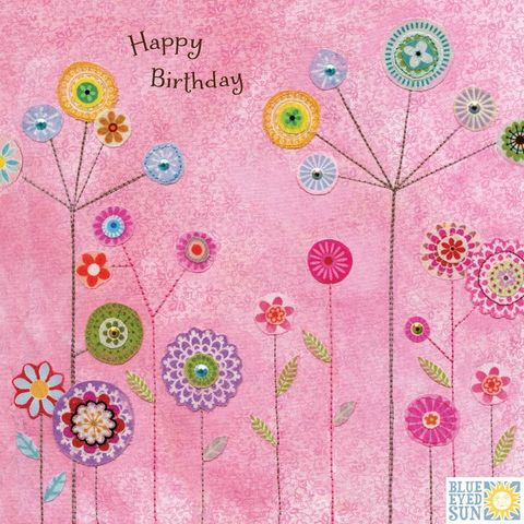 Pink,Flowers,Happy,Birthday,Card,buy floral birthday cards for her online, buy garden birthday cards for her online with nature, flowers, trees, birds, bunting, buy pretty birthday cards for her online, buy bird birthday cards for her online, buy pretty female birthday cards with nature